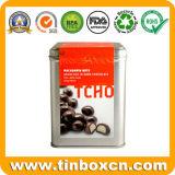 Contenitore provvisto di cardini rettangolare di cioccolato dello stagno per il barattolo di latta dell'alimento del metallo