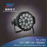 18PCS 18W RGBWA UV LED 동위 6in1 주조 알루미늄 동위 단계 빛