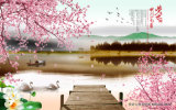 Het de jongen en Vee die van de Herder neer door de Rivier met Mooie Waterdichte Van golfkarton van de Boom van de Appel voor het Olieverfschilderij van de Decoratie van de Woonkamer lopen
