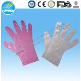 Guantes plásticos disponibles transparentes, guantes del LDPE