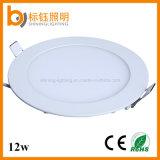 Lumière d'intérieur de coulage sous pression ronde de panneau de plafond de l'éclairage 12W DEL de boîtier à la maison en aluminium