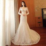 Erstaunlicher Kristall-wulstige dünne Spitze Sleeves Trompete-Brauthochzeits-Kleid