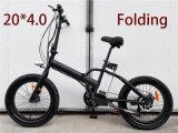 La grasa de 20 pulgadas bicicleta eléctrica plegable de neumáticos