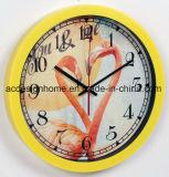 Gli amanti coppia voi & me decorazione interna di plastica degli orologi di parete di stile di colore giallo Relaxing del fenicottero