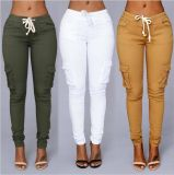Pantaloni multicolori della matita dell'allacciamento di modo per i pantaloni della donna