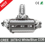 가장 새로운 작풍 3xcree T6+2xq5 LED Headlamp USB 재충전용 Headlamp
