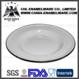 Decal Printed Ceramic Enamel Plate with Colored Rim Laminado