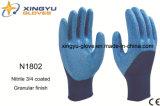 Перчатки работы безопасности нитрила раковины полиэфира покрытые (N1802)