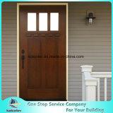 シェーカー3のライトによって汚されるマホガニーの木製のPrehungの前ドア