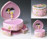 Caixa de música Heart-Shaped cor-de-rosa com espelho e gavetas