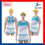 Healong imprimiu os vestidos longos da roupa das mulheres da luva que Cheerleading uniformes