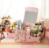 Cadre de mémoire de bureau de sourire en bois créateur de face de DIY, cadre de mémoire cosmétique avec le miroir