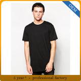 Maglietta nera 100% del manicotto del cotone degli uomini dell'OEM breve