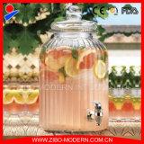 Стеклянный опарник сока распределителя напитка опарника еды с стеклянным шкафом крышки и металла