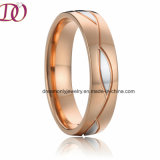Two-color pencil Rose Gold and White Silver Stainless Steel Ring Wedding Band