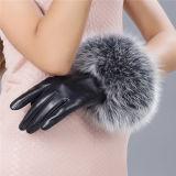 2016 guanti di cuoio delle pecore di modo con il testo fisso della pelliccia del coniglio