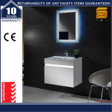 Unité de lavabo de salle de bain laquée en MDF à encastrer mural avec éclairage LED