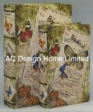 Contenitore di libro di legno elegante di memoria di stampa di disegno Canvas/MDF della farfalla S/2
