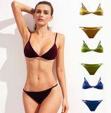 Les femmes de cravate côté Triangle Bas bikini maillots de bain en velours