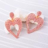 새로운 우아한 박아 넣어진 모조 다이아몬드 사랑스러운 Heart-Shaped 합금 여자의 귀걸이