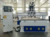 Router di legno pneumatico di CNC di Atc con tre teste per la fabbricazione portello/Governo