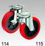 Rote PU-Rad-Schwenker-Platten-Oberseite-Fußrolle