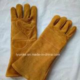 Высококачественный хлопок перчатки коровы Split кожаные перчатки