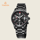 Mens Analog Quartz Relógios Luxury Leather Black Fashion Chronograph Watch 72230