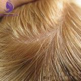 Couleur blonde cheveux européenne injecté Toupee des hommes en stock