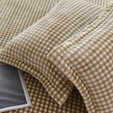 Полиэфир Microfiber конструкции шотландки напечатал почищенные щеткой комплекты постельных принадлежностей фланели