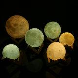 3Dホーム装飾のクリスマスの装飾のための魔法の月LED夜ライト月光の電気スタンドUSBの再充電可能な3つの薄い色Stepless