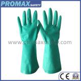 Перчатки зеленого нитрила промышленные химически с En388 и En374