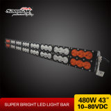 "43"" 480W blanco de doble fila y barra de luces LED de color ámbar"