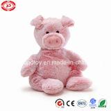 Plush Pink Pig Soft Sitting Baby Gift Toy avec des perles