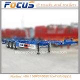 La Chine Fabrication 3 40FT squelette de l'essieu châssis porte-conteneurs / Semi-remorque