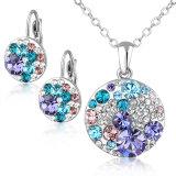 De ronde Reeks van de Juwelen van de Halsband van het Kristal van Austrial van de Oorring en van de Tegenhanger van de Legering