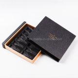 Подгоняйте коробку подарка логоса сусального золота горячую штемпелюя черную для продуктов косметики/здоровья упаковывая коробку с подносом рассекателя