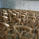 최신 판매 형식 옥외 식사 가구 나무로 되는 십자가 뒤 등나무 매트 의자