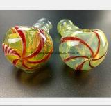 Gelbes GlasHuka-Gefäß-Bambusform-Gefäß, das Öl aufbereitet
