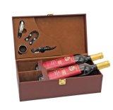 Pente élevée d'approvisionnement spécial et boîte-cadeau portative noire durable élégante de cuir de vin avec le bouton intéressant en métal, double cadre de cuir de vin