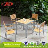 Conjunto de jantar de madeira de plástico, conjunto de jantar de jardim, móveis de madeira de plástico