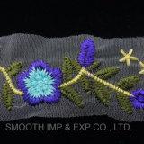 Tessile floreale del merletto di modo 3D che assetta il tessuto multicolore del merletto di Embrodiery