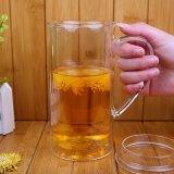Tasse de lait de grande taille double paroi en verre de bière avec poignée Hand Made Beer Cup personnalisé