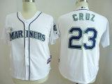 人の女性の子供アメリカリーグシアトルの船員のCruzの野球のジャージ