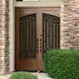 Double porte extérieure élégante de fer travaillé de garantie avec Screenand