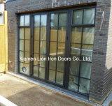 Portelli francesi d'acciaio moderni del ferro del portello Bifold di vetro del metallo per esterno