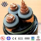 Câble de mv, 15 Kv isolation XLPE 3 X 185 mm conducteur en cuivre 3coeurs bande câble blindé