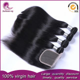 Tessuto cinese dei capelli del Virgin non trattato diritto con la chiusura del merletto