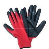 С другой стороны безопасности защитные нитриловые Red-Black покрытием вязаные рукавицы