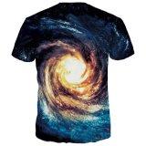 Le T-shirt chaud de marque de mode d'or d'impression de la nébuleuse 3D de T-shirt de femmes d'hommes de T-shirt de galaxie complète des T-shirts